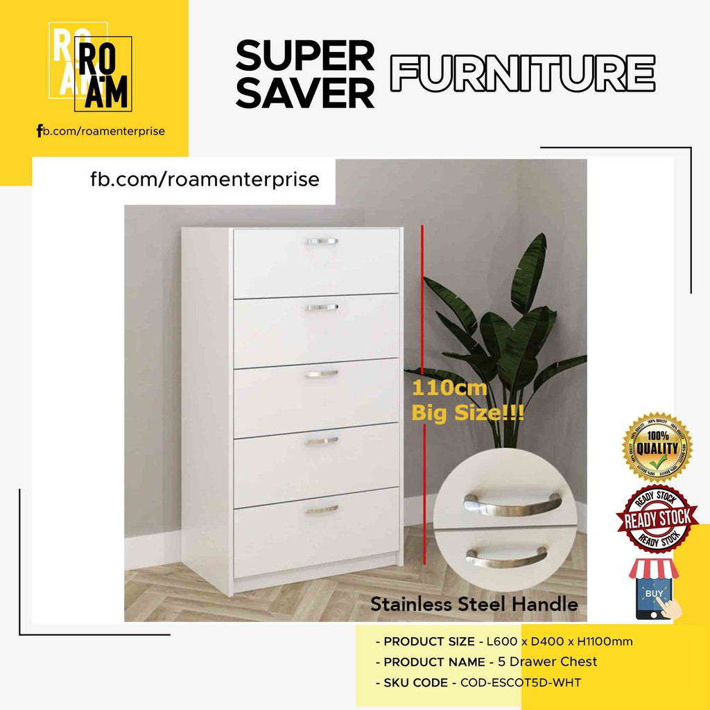 ESCOT 5 DRAWER CHEST drawer multi use wardrobe laci murah chests of drawer - WHITE color COD-ESCOT5D-WHT