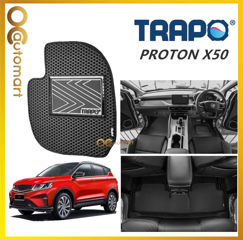 TRAPO Customize Car Floor Mat Proton X50 X 50 Black Base with Red Grey Blue Black Lining