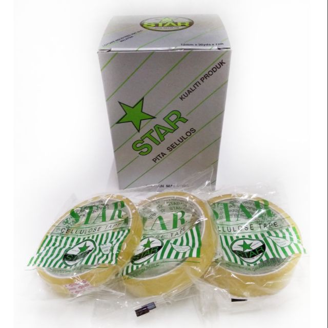 STAR CELLULOSE TAPE 12MM/18MM/24MM X 30YDS per box