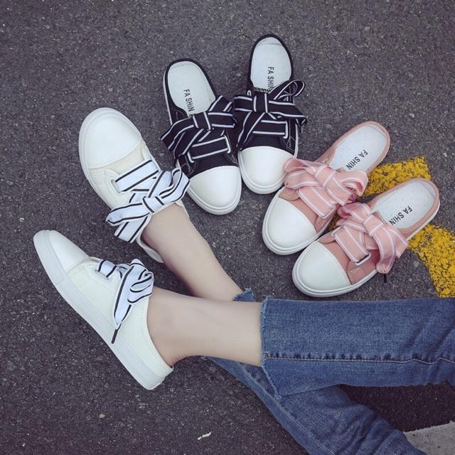 [36~40]Canvas shoes female Korean ribbon no heel lazy shoes 帆布鞋女半拖小白鞋韩版丝带无后跟懒人鞋学生百搭平底板鞋子
