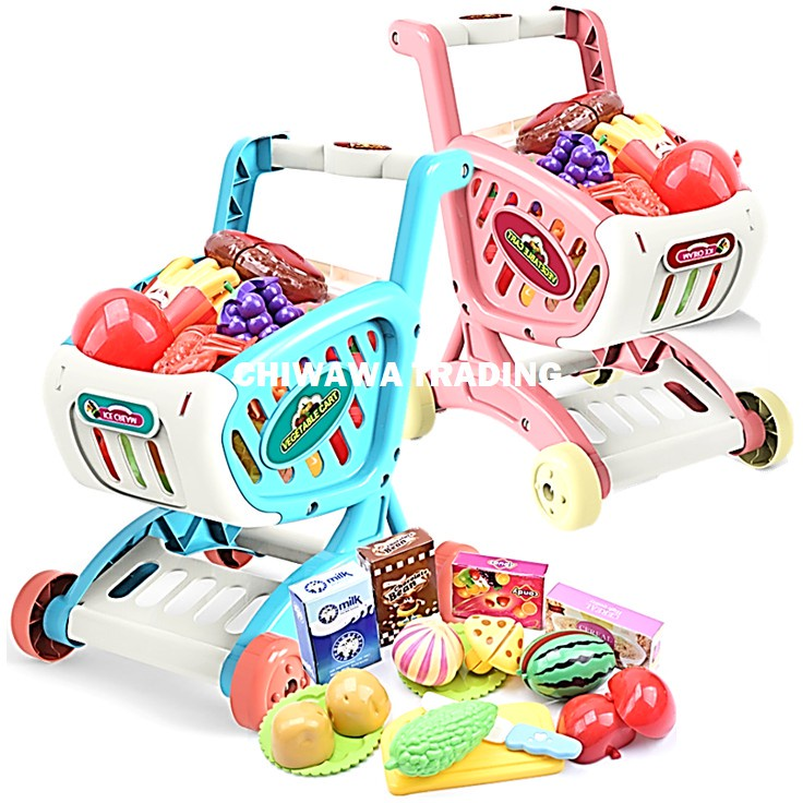 Kids Shopping Cart Supermarket Grocery Trolley With Fruit Vegetable Pretend Play Toy Set Mainan Kanak
