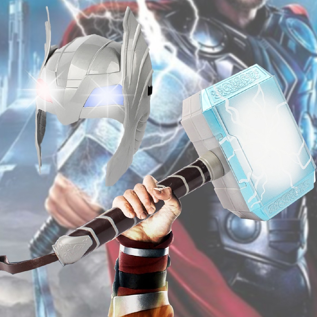 Cosplay LED Helmet Glowing Sounds Hammer For Thor Action Figures Kids Toys Gift