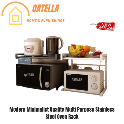 Qatella Microwave Rack Oven Rack Kitchen Rack Stainless Steel Oven Rack Rice Cooker Rack Kitchen Dapur shelf