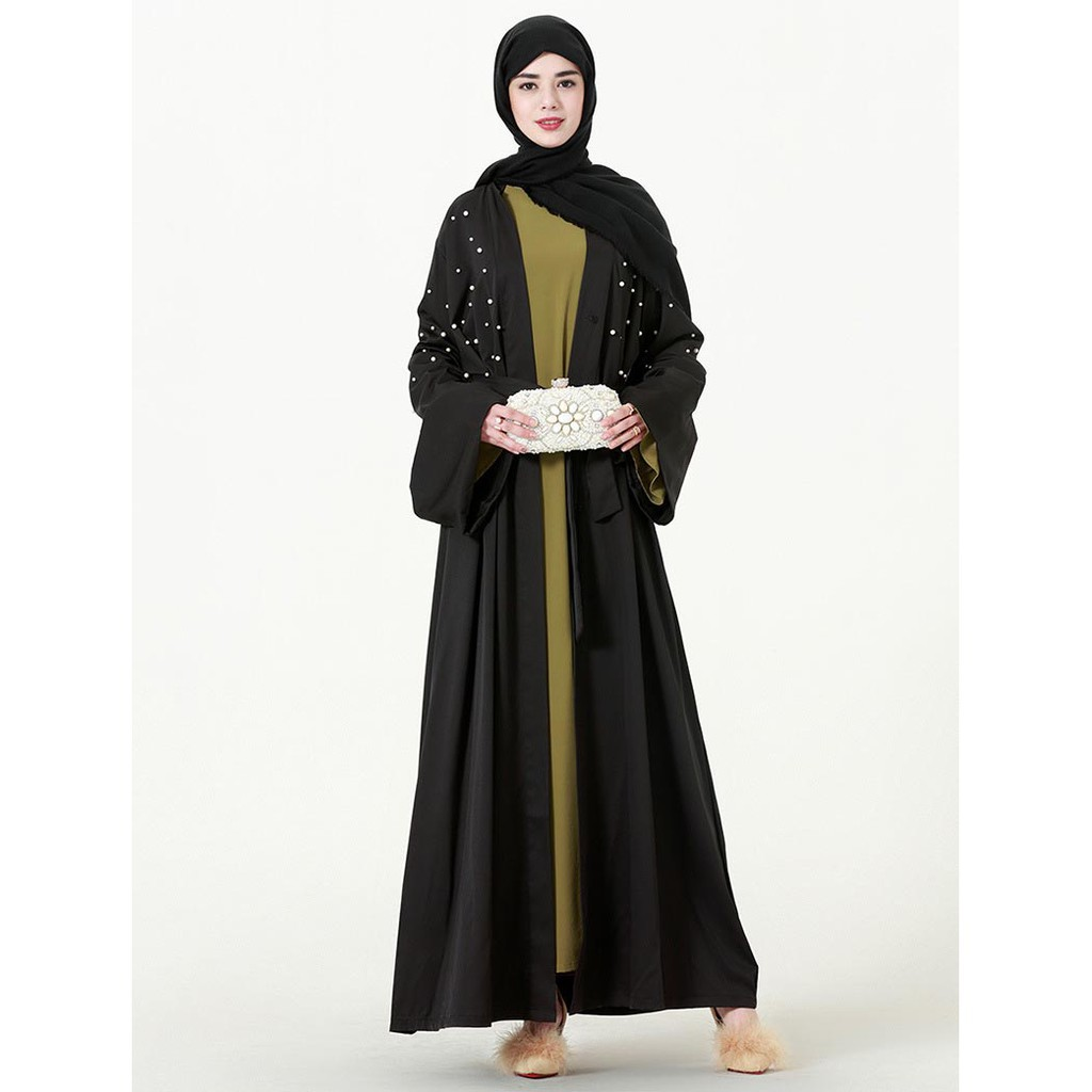 7c225e5a098 Elegant Muslim Abaya Arab Turkish Cardigan appliques Dubai Women Islamic  Dress