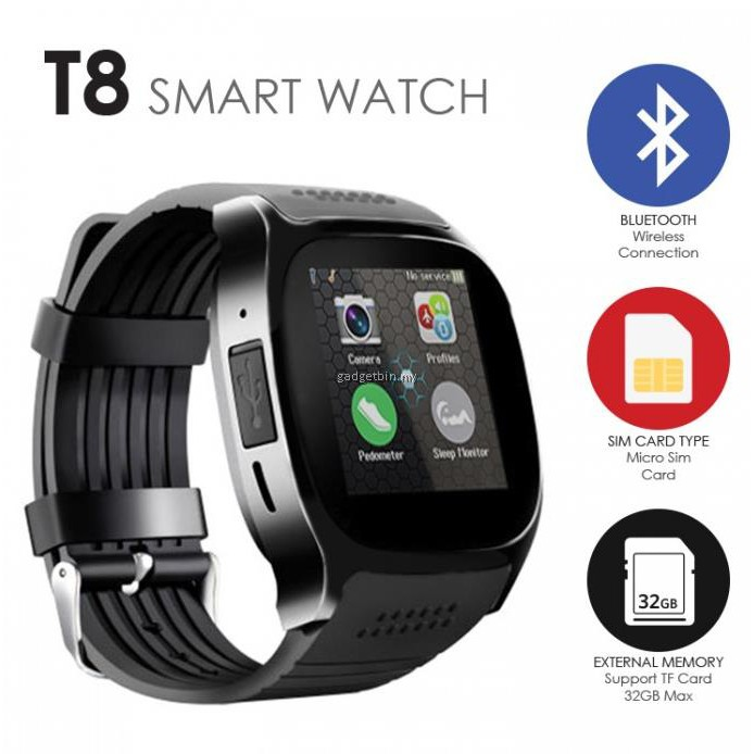 bc64b602372 T8 Bluetooth Smartwatch With Camera Music Player SIM TF Card Support SYNC  Call