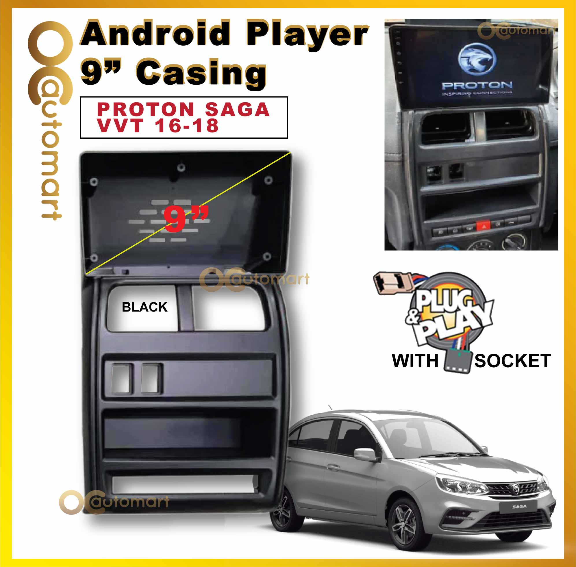 """Proton Saga VVT 2016-2018 Big Screen 9"""" Plug and Play OEM Android Player Casing Only"""
