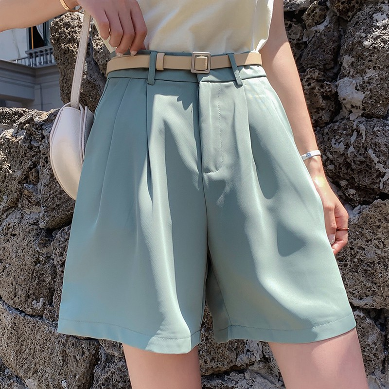 High Waist Loose Suit Shorts Women S Summer And Korean Version Show Thin Work Clothes Chiffon Straight Tube Five Poi Shopee Malaysia