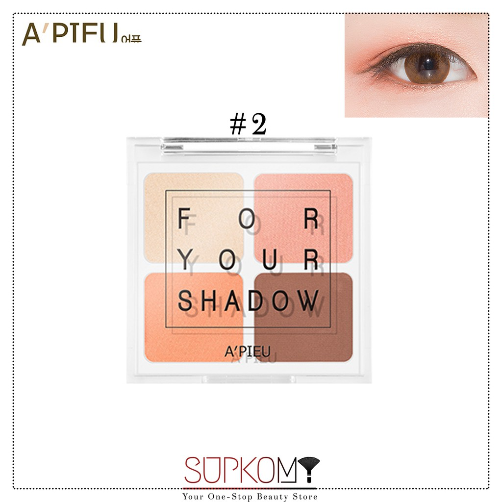 【CLEARANCE】A'PIEU FOR YOUR SHADOW (#1,#2,#3) Eye Shadow Palette Set 4 in 1 Makeup Powder