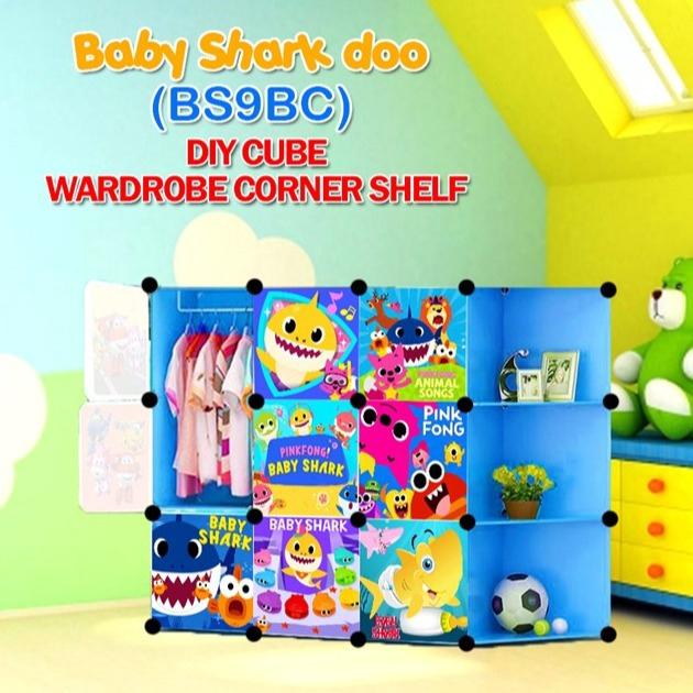 READY STOCK BM] ALMARI BAJU BESAR BabyShark BLUE 9C DIY Corner Rack Storage Cabinet Wardrobe With Almari Hanger (BS9CB)