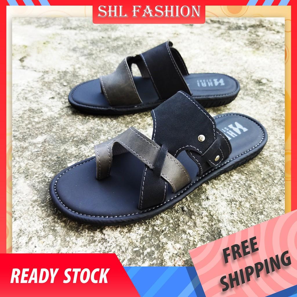 HAISTORY BIG Size Sandal Slip On PU Leather Selipar Kasut Lelaki 6-14【男士拖鞋】-1108