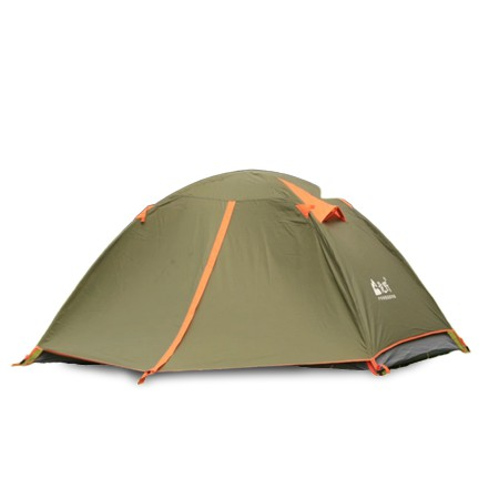 LONGYE 2 Person Outdoor Camping Tent - Double Layer, PU3000mm, 2 Door, White Net for Mosquito Control & Ventilation