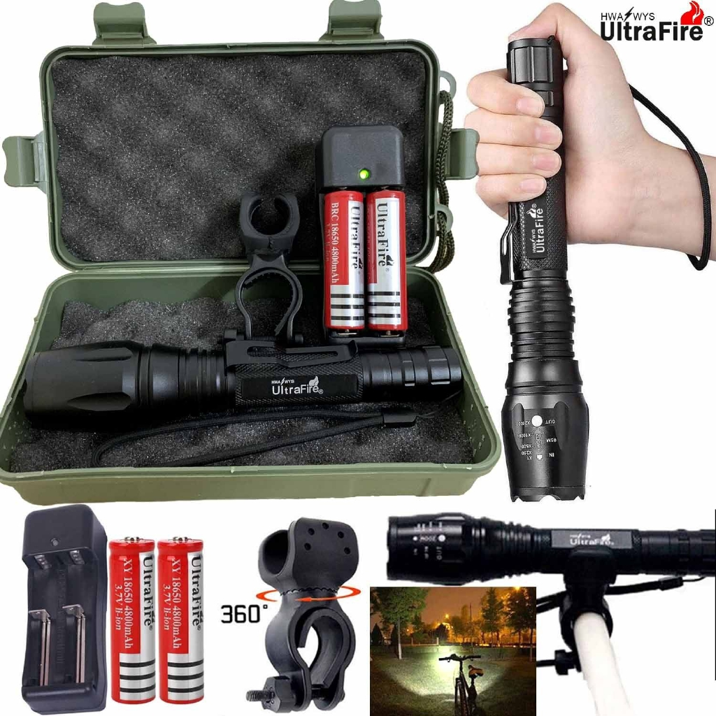 Police T6 LED 18650 Super Bright Zoom USB Charge Flashlight Powerful Lamp Torch