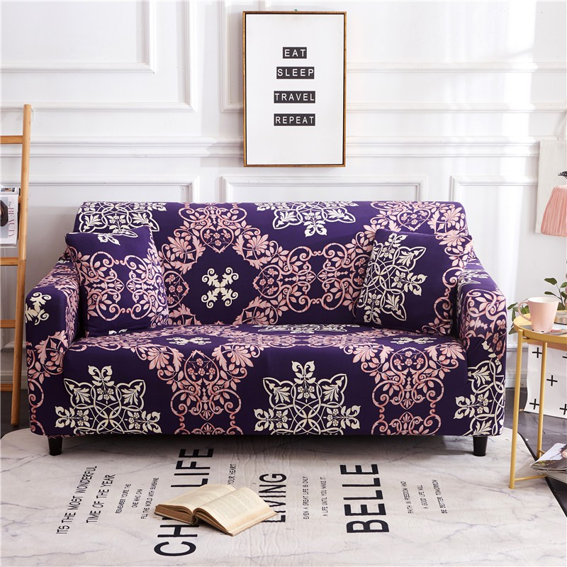 Enjoyable Purple Sofa Cover Slipcover Flower Totem 1 2 3 4 Seater Couch Cushions Gmtry Best Dining Table And Chair Ideas Images Gmtryco