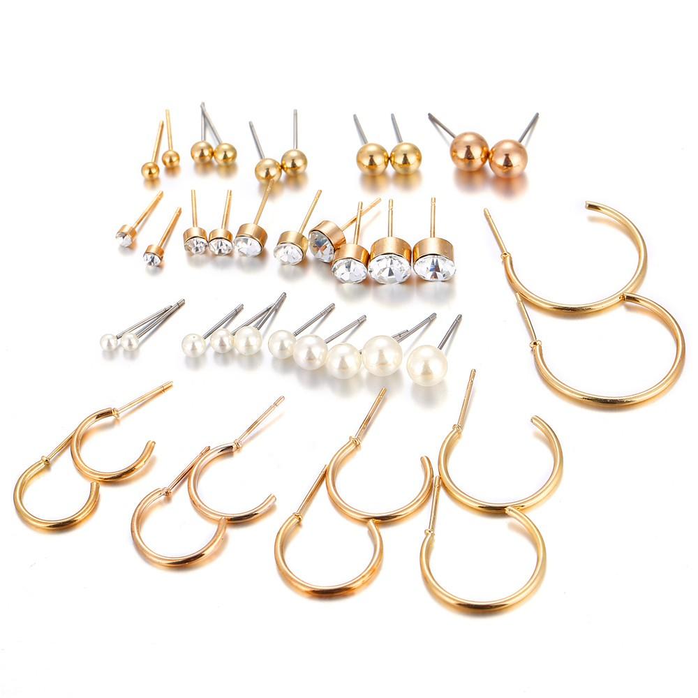 d0a8d0a989 20 Pairs Women's Fashion Hoop Stud Earrings Set Ball Geometric Piercing  Women