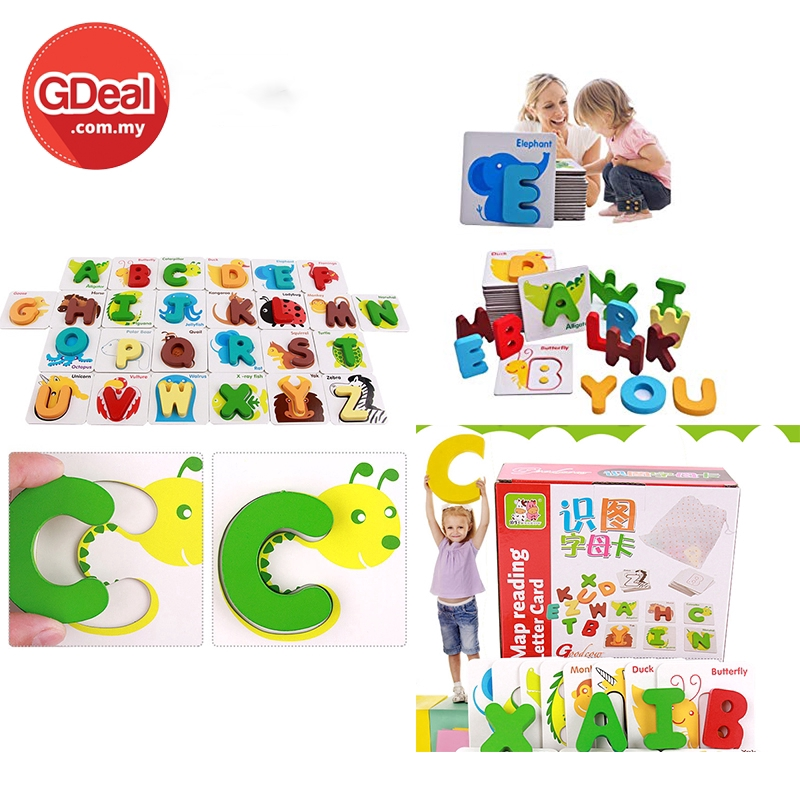 GDeal Kid's A To Z Animal Wooden Cartoon Map Reading Alphabet Card Suitable For 36 Months And Above