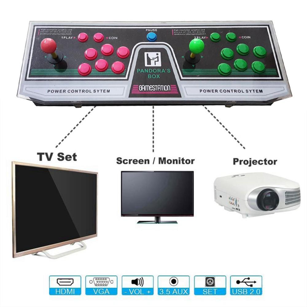 999 Video Games Arcade Console Machine Double Joystick Pandoras Box 3 Way Switch 5s Vga Hdmi Shopee Malaysia