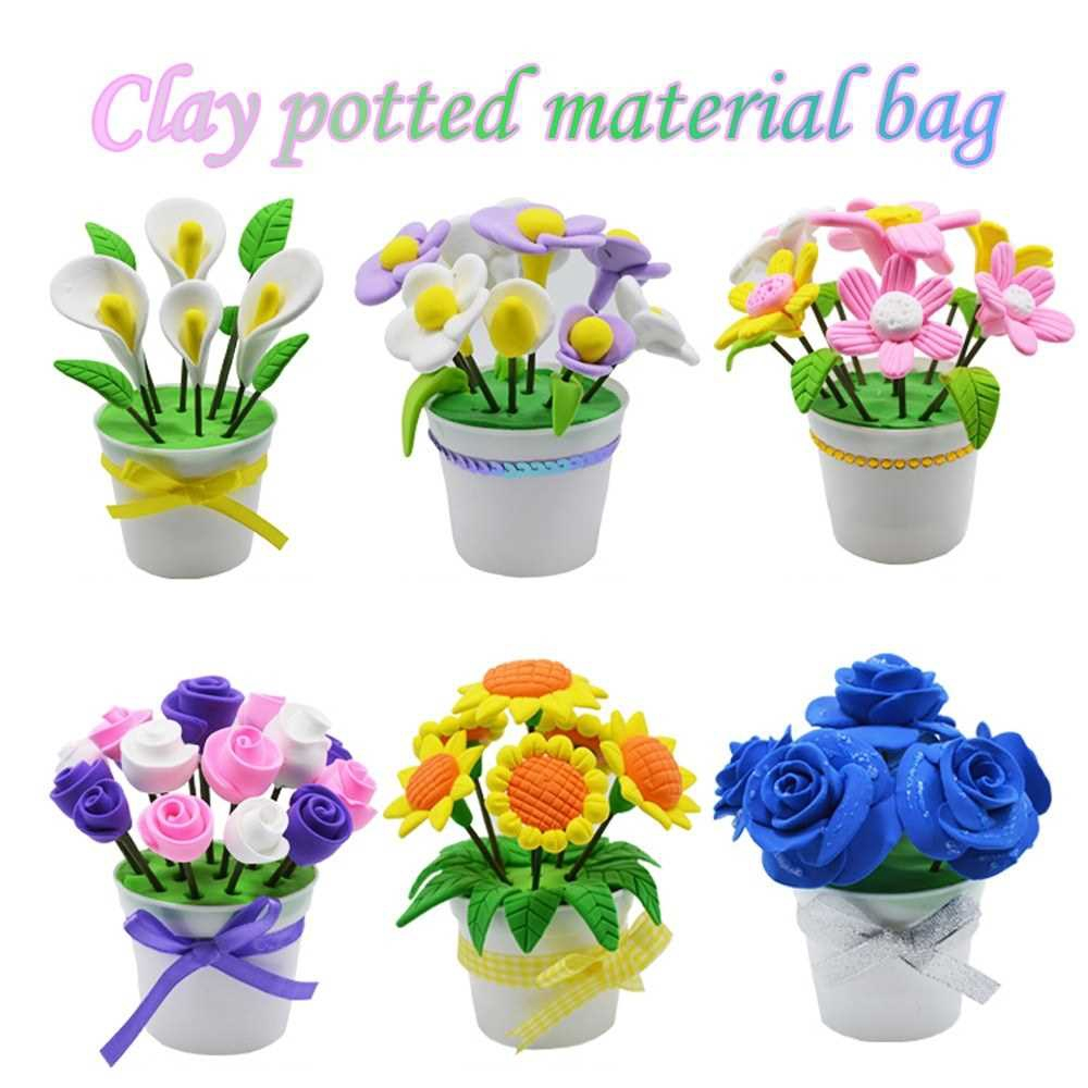 DIY Handmade Material Environmental Ultralight Color Clay Potted Flower DIY Kits for Children Educational Toy (5)