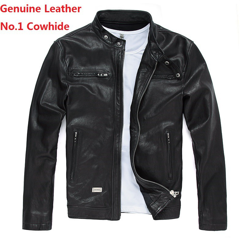 Mens Stylish Genuine Lambskin Motorcycle Biker Leather Jacket 84