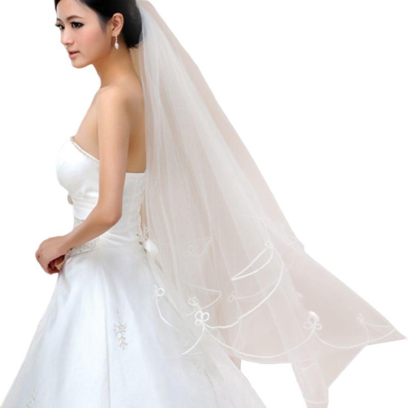 1 x Women 150cm white one layer short wedding bridal veils FO