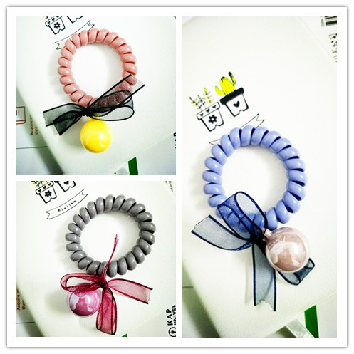 Women Elastic Rubber Hairband Phone Wire Hair Tie Rope Band Ponytail Hot