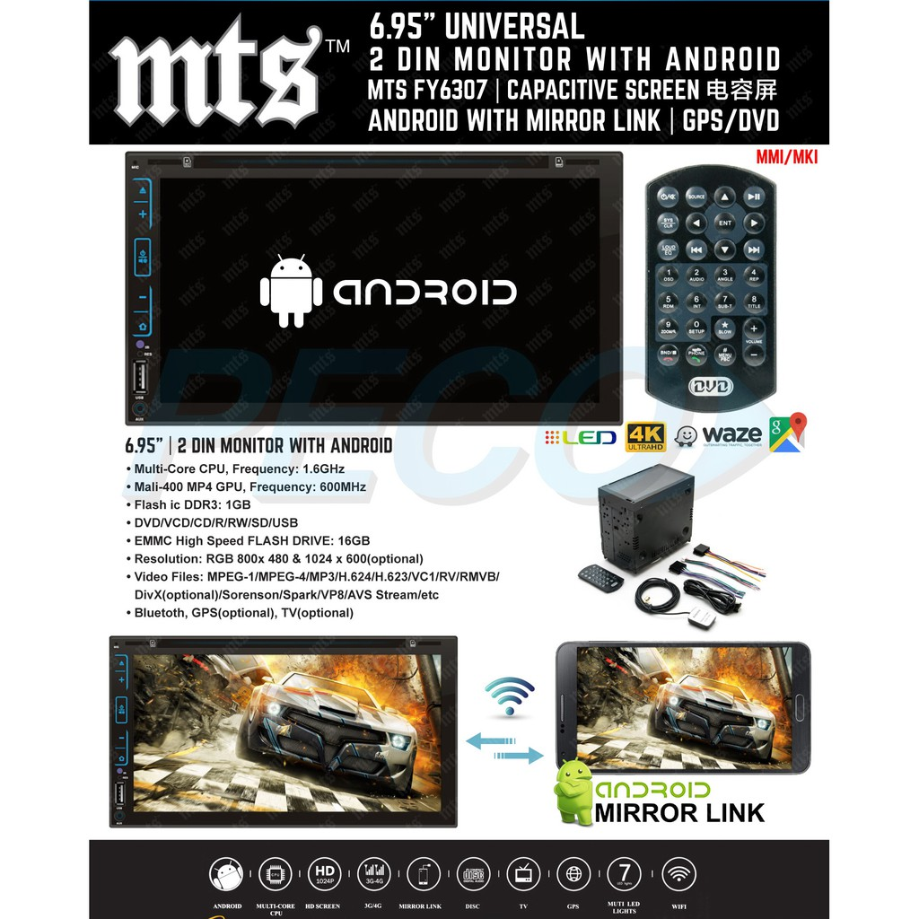 Car FY-6307 6 95 inch Double DIn Monitor With Mirror Link With Android