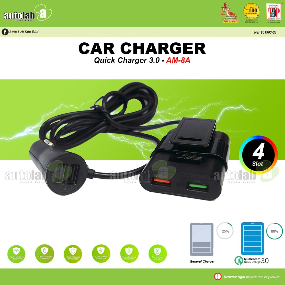Car Charger Quick Charger 3.0 AM-8A
