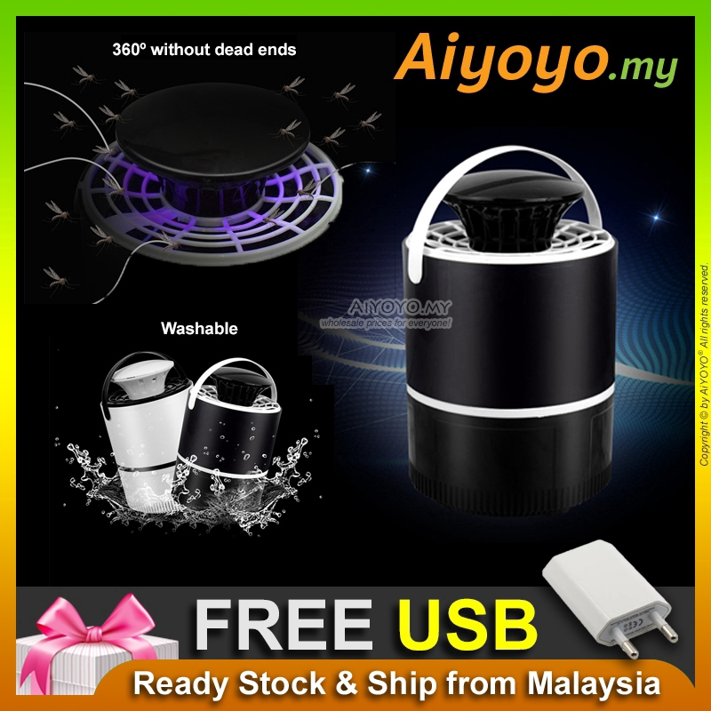 USB Ultraviolet Ray Mosquito Repellent Trap Killer Lamp Nyamuk Insect Fly Bug Repeller Catcher Trapper Zapper Sucking Pe