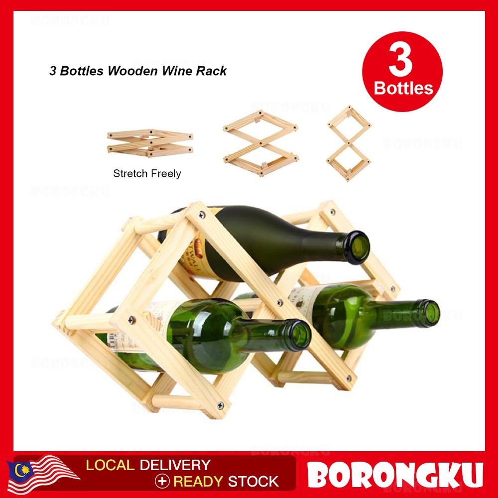 Borongku Foldable 3 Bottle Wooden Wine Rack Organizer Display Shelf