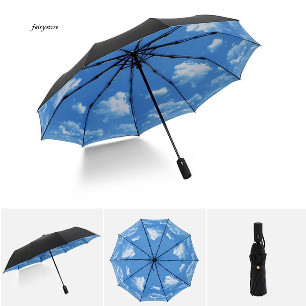 df4e05343706 FS_Unisex Portable Fully Automatic Foldable Rain Sunlight Umbrella Travel  Parasol