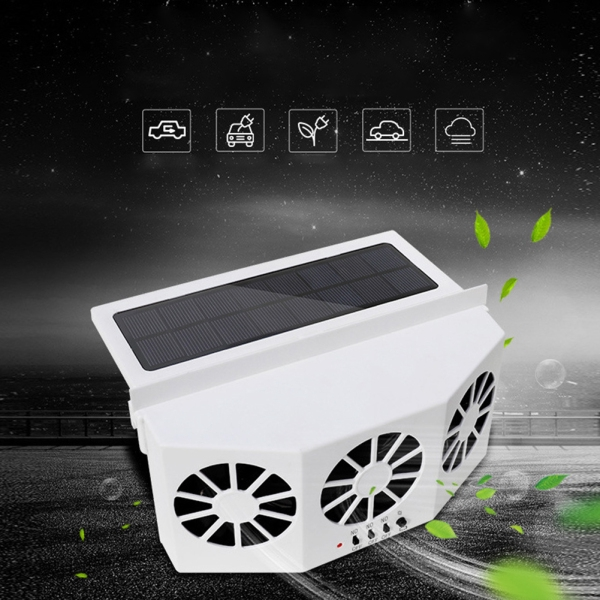 Solar Vehicle Fan Car Ventilator 3 Cooler Fans Solar-powered Cooling Vent  Exhaust Portable Safe Fan