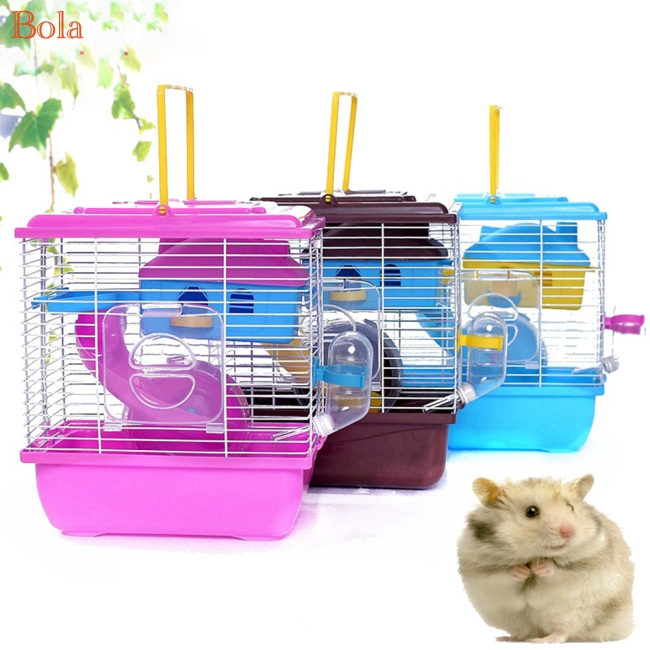 Pet Cage Hamster Cottage with Transparent Skylight Double Layer House for  Hamster Golden Hamster Pet
