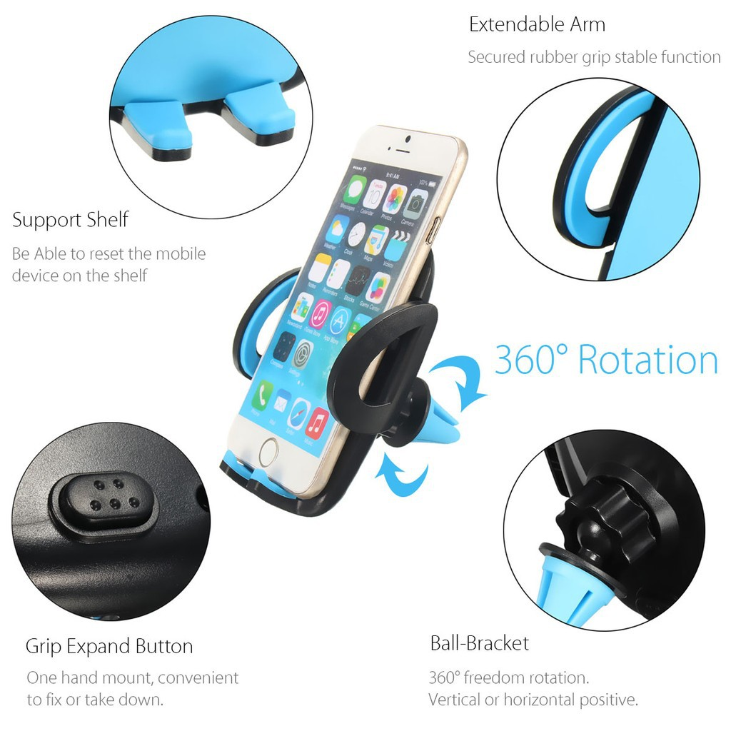 🌸🌸🌸INSMA 360° Universal Car Air Vent Holder Mount Stand Cradle GPS  Mobile Phone_3C