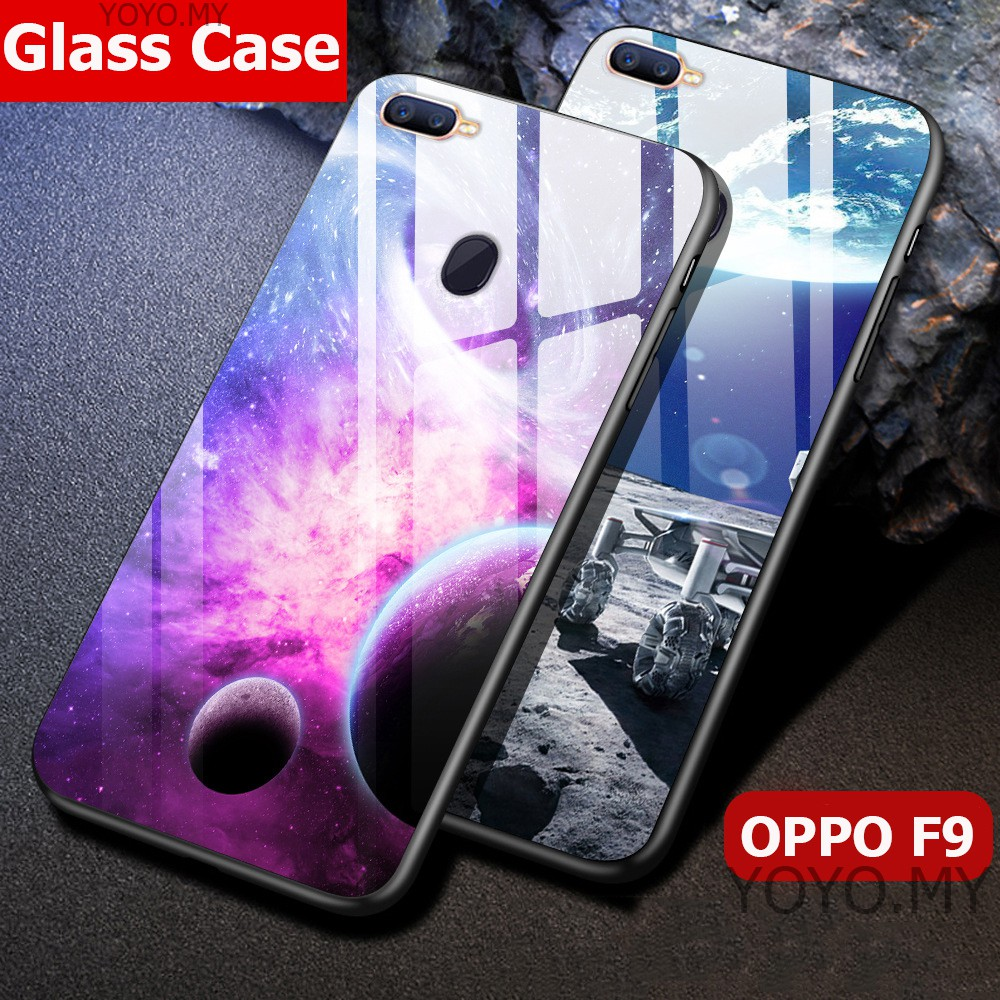 factory price 4cf93 d7252 Casing OPPO F9 Hard Cases Tempered Glass Back Cover Phone Case OPPO F7