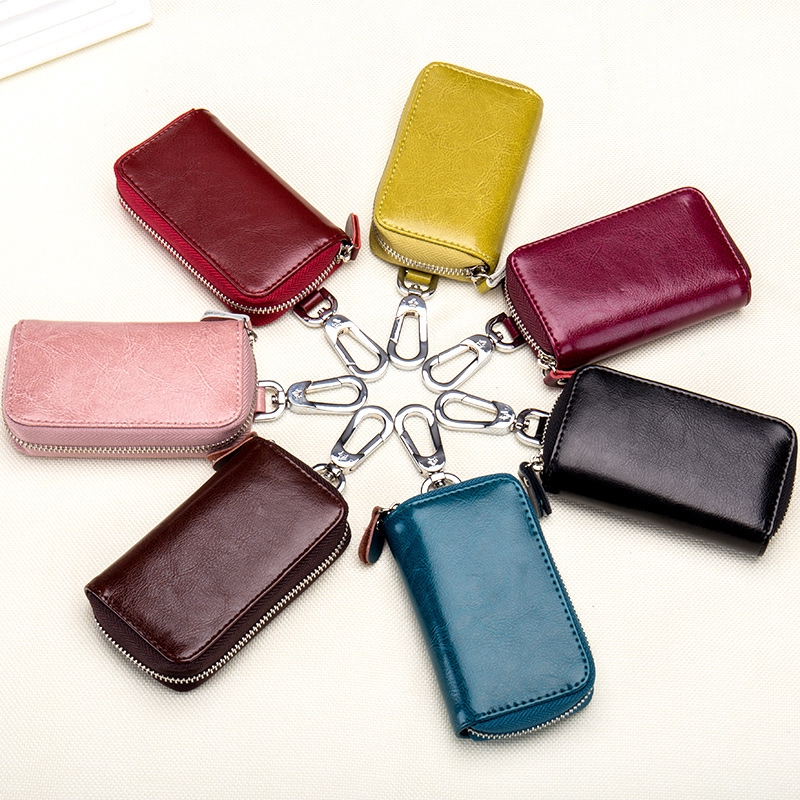 READY STOCK Korea Men's Large Capacity Car Remote Key Pack Multifunction Genuine Leather