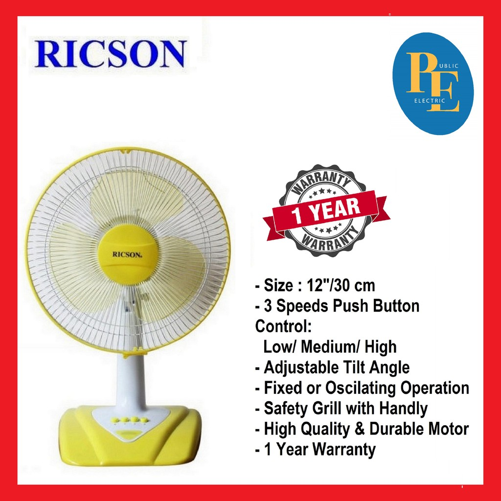 "Ricson Electric Table Fan 12""/30cm - RF-203"