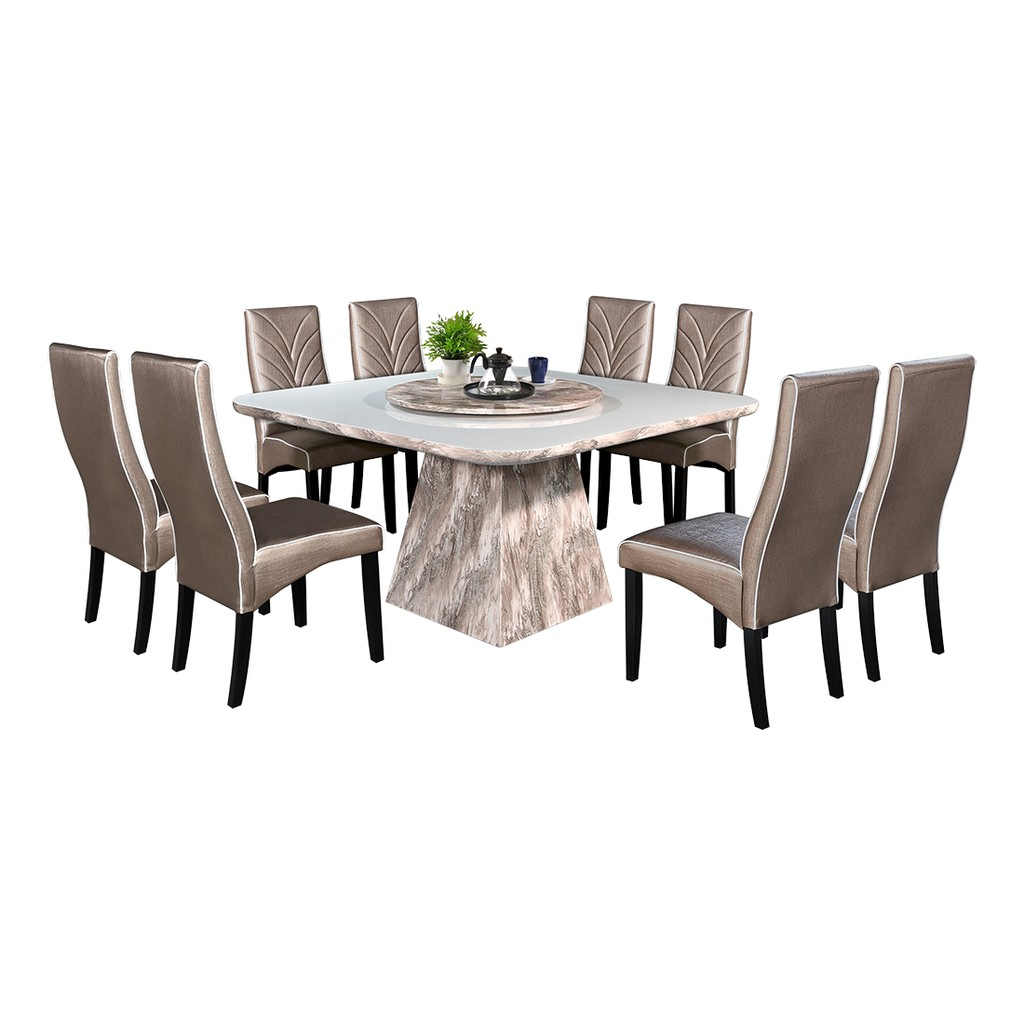 Nl Mtz125 Luxury Design Square Marble Dining Table Set 1 8 Shopee Malaysia