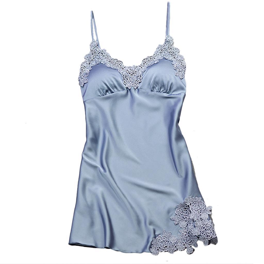 5e03f8b8401d6 Women Nightgowns Sexy Satin Sleepwear Silk Nightwear Spaghetti Strap ...