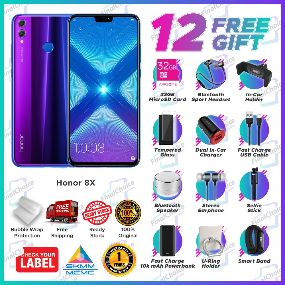 [Up to 12 Free Gift] Honor 8X (4GB+128GB) Original Honor Malaysia Warranty