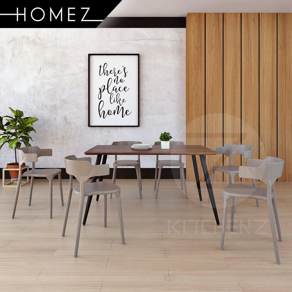 Homez Modern Contemporary Dining Table Set HMZ-FN-DT-T01(15090)-DB+DC-A363-GY 1+6 Dining Chair