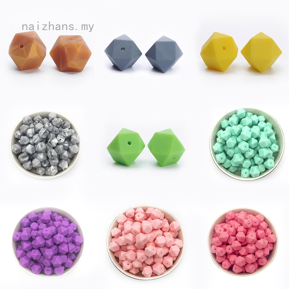 Safety Hexagon  Chew Beads Mom DIY Necklace Baby Teether BPA-Free Silicone