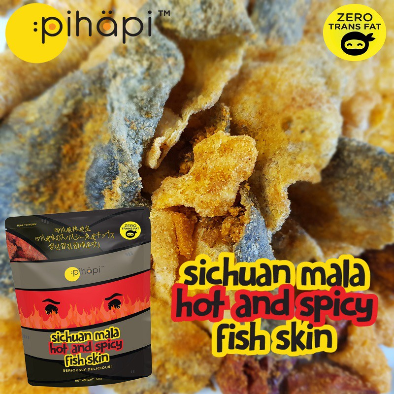 [READY STOCK] 1 Box (30 packs) Pihapi Sichuan Mala Hot and Spicy Fish Skin Snacks (Net Weight 1.5KG) / 四川麻辣鱼皮零食