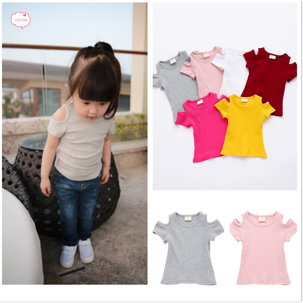 203b073891 Baby Girls Candy Color Short Sleeve Tops Cotton Off-Shoulder Shirts