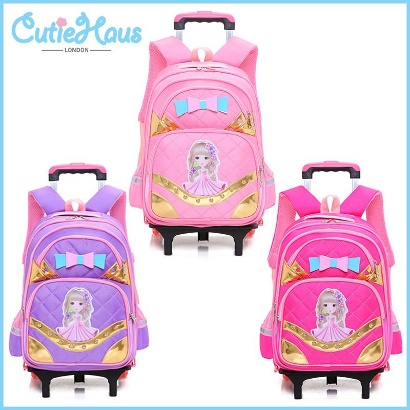 de57156cd365 Cutiehaus 6 Wheels Kids Girls Waterproof Backpack Elementary School Backpack