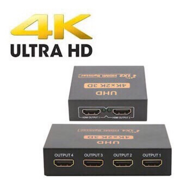 Ultra HD 4K 2 Port & 4 Port HDMI Splitter 1x2 & 1x4 Repeater Amplifier  1080P 3D