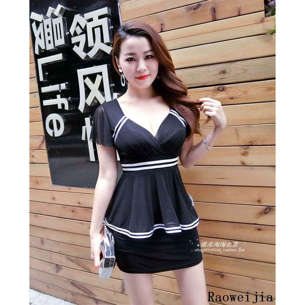e0653a8286fd4 Summer New Nightclub Sexy V-neck Low-cut Covered Belly Thin Pack Hip Dress  Femal