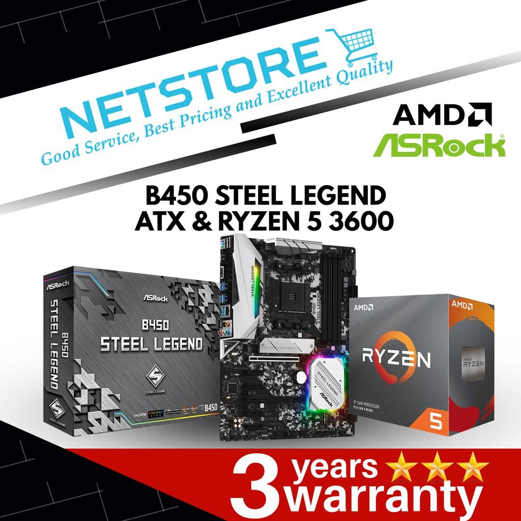 PWP ASROCK B450 STEEL LEGEND ATX Motherboard & AMD Ryzen 5 3600 Processor