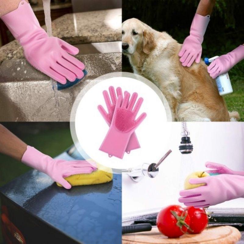 sarung tangan sepasang lembut selesa 1Pair Gloves Kitchen Silicone Cleaning Gloves Magic Silicone Dish Washing Glove