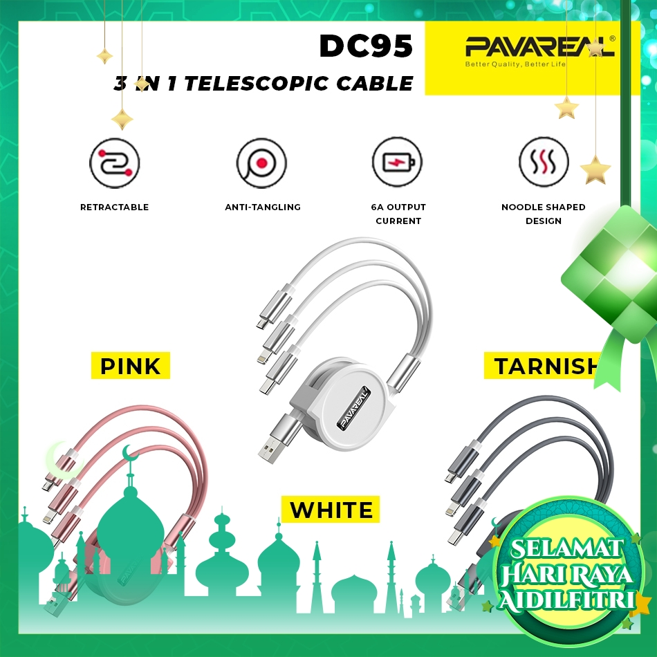 PAVAREAL PA-DC95 3-in-1 Retractable 6A Compact and Mini Charging Cable SimultaneouslyCharge Micro/Lightning/Type-C 1.2M