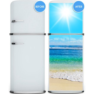 3d Creative Sunshine Beach Refrigerator Sticker Fridge Door Cover Wallpaper
