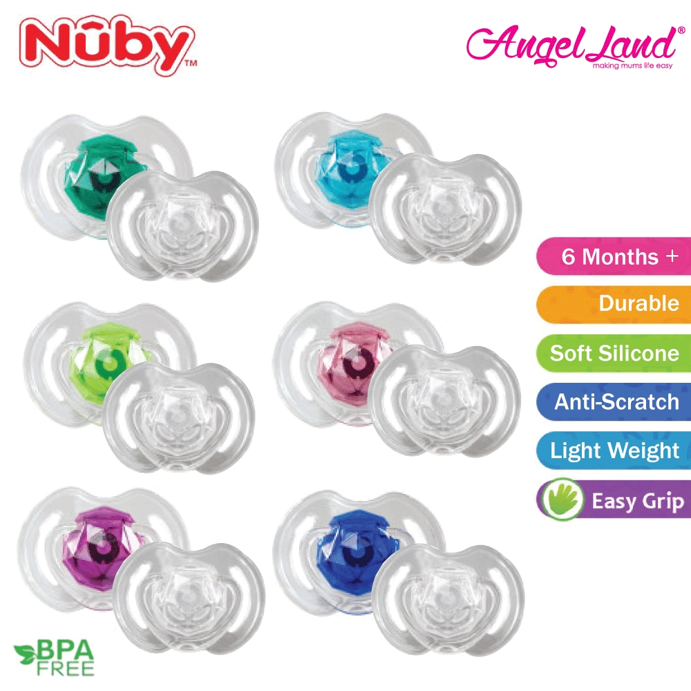NEW NUBY Baby  2 x Soft Edge Oval DUMMIES PACIFIERS 6m